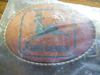 Vintage Rare New John Deere Equipment Brass And Leather Belt Buckle 1980's