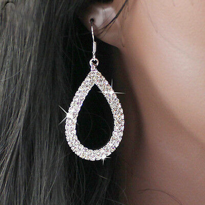 Long Drop Earrings Silver Diamante Crystal Rhinestone Dangle Hoop Hollow Party