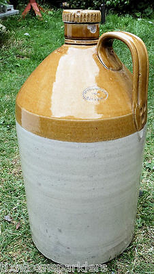 Large Vintage Scottish Possil Pottery Handled + Screw Topped Stoneware Flagon