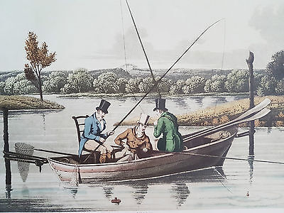 Old Prints FISHING IN A PUNT and SALMON FISHING Alken 1820