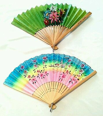 Two vintage folding paper fans made in Taiwan - late 60's early 70's