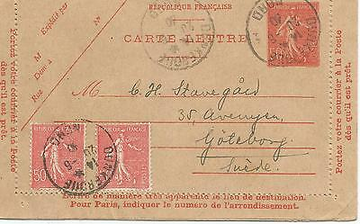 FRANCE 50c LETTER CARD WITH UPRATED 50c X 2 TO SWEDEN  REF 436