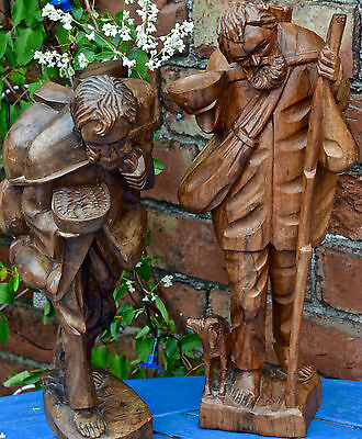 FOLK ART Pair of Carved Wooden 'Kings of The Road' Hobo
