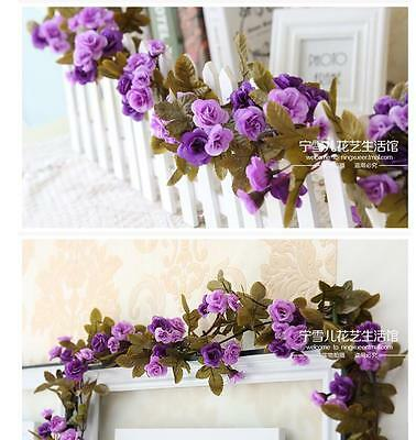 Artificial Fake Silk Rose Flower Ivy Vine Garland Wedding Party Home Room Decor