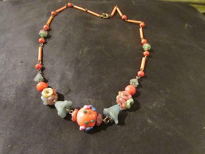 Fabulous Art Deco Quality Czech Flower Bead Necklace
