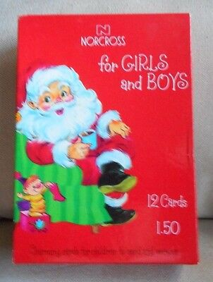 Box set 6 Norcross Christmas Cards Vintage Flocked Die Cut dog cat lamb boy