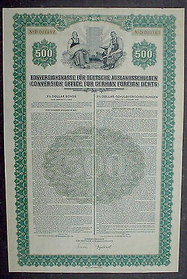 Conversion Office for German Foreign Depts 500$ 3% Bond 1936 uncancelled+coupons
