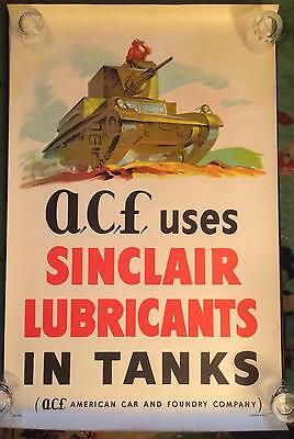 SINCLAIR OIL WWII Poster M3 Stuart Light Tank American Car &Foundry RARE Nr Mint
