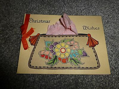 vintage christmas card with hanky