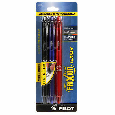 Frixion Clicker Pen Assortment Fine Point 0.7mm 3 Pk Black, Blue, & Red