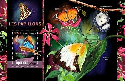 Z08 IMPERFORATED DJB16514b DJIBOUTI 2016 Butterflies MNH