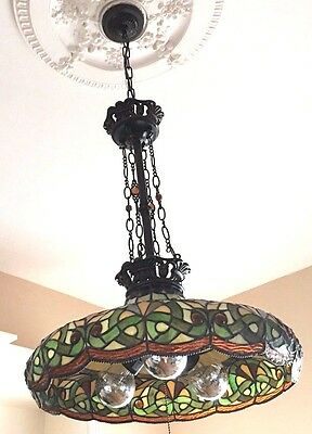Victorian Art Glass Ceiling Chandelier Light