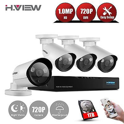 H.View Outdoor Home CCTV Security System 4CH 720P NVR HD 1.0MP IP POE Camera 1TB
