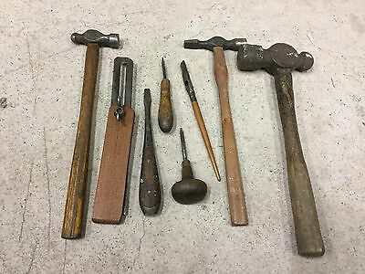 Mixed Lot Of Old Dark Wooden Handled Tools/Hammers