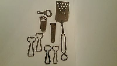 Small collection of advertising bottle openers, 7-UP, Coca-Cola, ginger ale, S&H