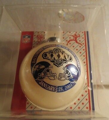 NY Giants Baltimore Ravens Super Bowl 35 XXXV Dueling Ornament MIB