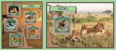 Z08 IMPERFORATED GB16707ab GUINEA-BISSAU 2016 Lions MNH Set