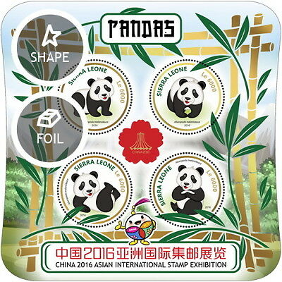 Z08 IMPERFORATED SRL16920a SIERRA LEONE 2016 Pandas MNH