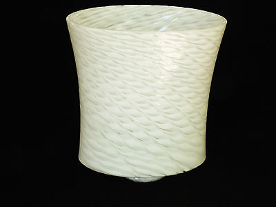 "2-1/4"" Fitter Swirled White Oval Art Deco Glass Light Shade Sconce Pendant Lamp"