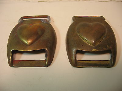 2 Civil/ Spanish American War Horse Harness  Buckle Covers With Hearts