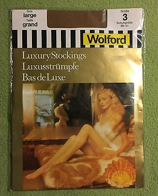Vintage Wolford Cantrecc Super Sheer  Nylon stockings Size Large Colour Marzipan