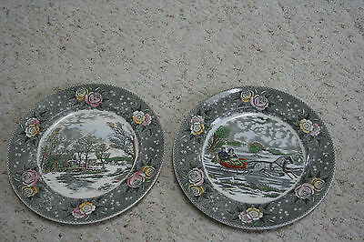 "2 Vintage ADAMS England  Plates-  'The Old Grist Mill' 10.5"" & The Road Winter"