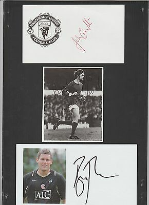 Signed white card by JOHN CONNAUGHTON the Manchester United Footballer