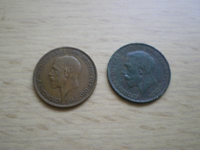 A pair of British Bronze 1926 AND 1928 GEORGE V PENNY Coins