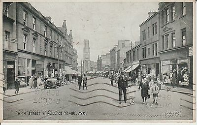 Ayr - High Street And Wallace Tower - Scotland - Real Photo Postcard