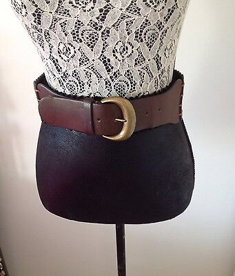 NEW LADIES BROWN LEATHER THICK BELT~ Size: