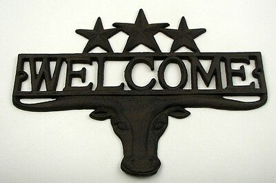 Cast Iron Steer & Stars Welcome Sign Plaque Wall Mount Western Decor