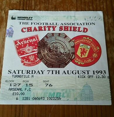 1993 Charity Shield Ticket Arsenal vs Manchester United