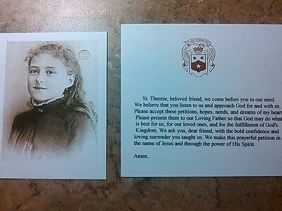 """St. Therese the """"Little Flower"""" Mini-Card with Relic and Prayer Card"""