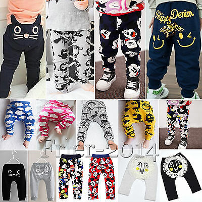 Kids Baby Boy Girls Cartoon Animals Pattern Casual Harem Pants Trousers Leggings