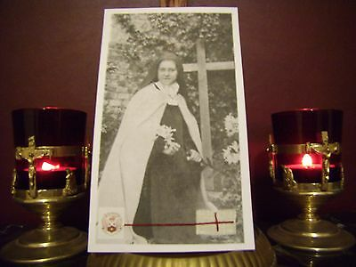 St. Therese' the Little Flower Convent Large Holy Card with Relic & Prayer