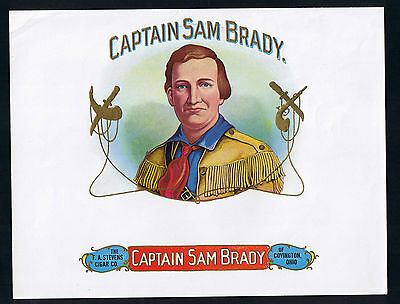 "AMERICAN CIGAR LABEL LITHOGRAPHY.- ""CAPTAIN SAM BRADY"" by THE F.A. STEVENS- RF09"