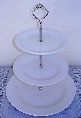 Ten (10) X Brand New White Three Tier Ceramic Cake Stands For Afternoon Tea