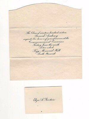 1916 Graduating Class of Berwick (ME) Academy Commencement Invitation
