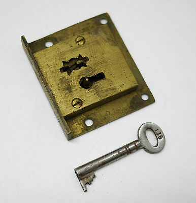 Vintage Brass 4 Lever Cabinet Lock with Key.