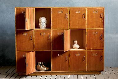 Antique Vintage Haberdashery School Cupboard Lockers Cabinet Vinyl Shop Storage