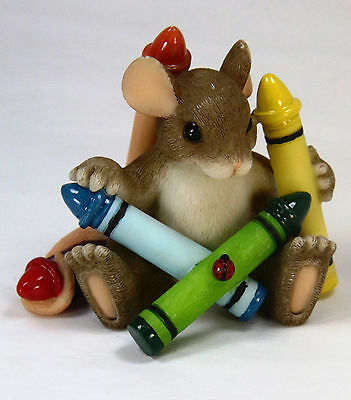 Charming Tails Mouse with Crayons Vintage Figurine Decorative