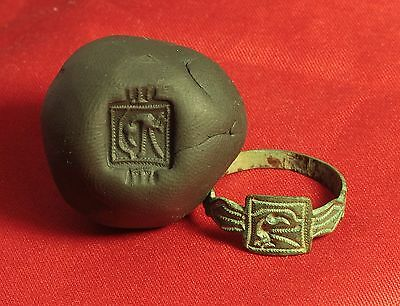 Medieval Heron Bird Seal Ring. 14. Century, Finger Ring