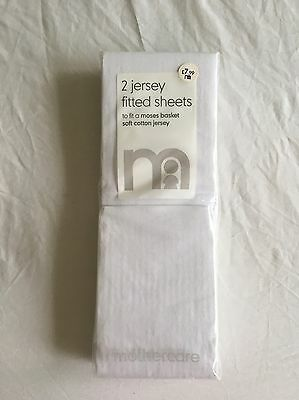 Mothercare Baby White Jersey Cotton Crib Fitted Sheets - 2 In A Pack
