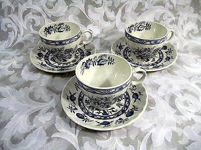 Set Of 3 Wood & Sons Old Vienna Blue Cups & Saucers