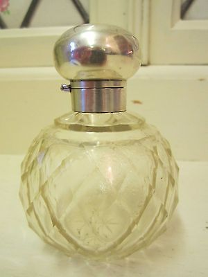 LARGE VINTAGE HALLMARKED SILVER CUT GLASS/CRYSTAL SCENT BOTTLE 1920s