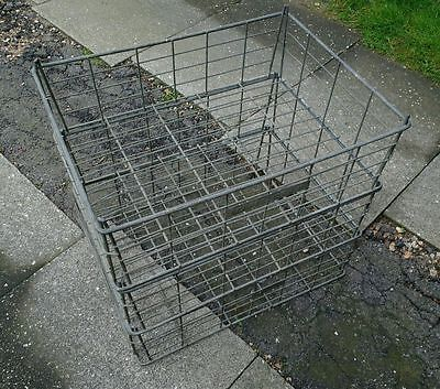 Set of 3 Large True Vintage Heavy Duty Wire Stacking Industrial Crates / Baskets
