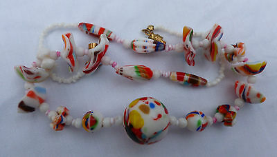 Unuusal Art Deco Czech/Venetian Rainbow Splatter Art Flower Glass Bead Necklace