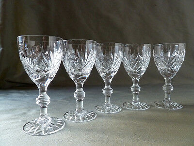 crystal brandy or liqueur glasses, on double knop stem, not signed, VGC