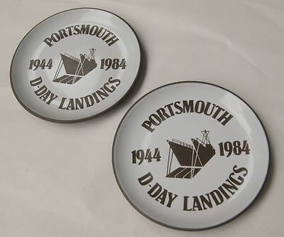Pair Rare Commemorative Hornsea D Day Landings Dishes Portsmouth 1944 1984 WW2