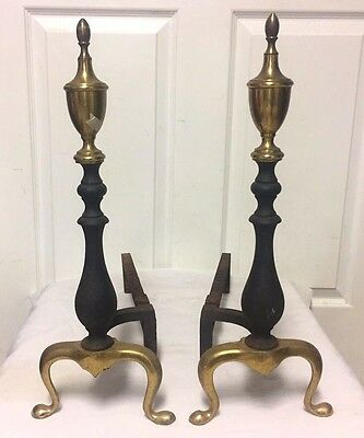 "ANTIQUE CAST IRON and BRASS FIREPLACE ANDIRONS 19"" with STAND  - NICE!"
